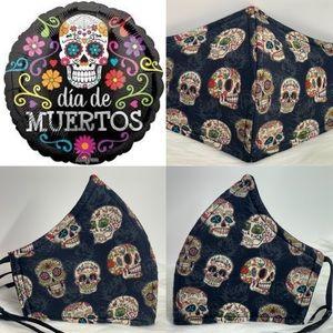 Halloween Sugar Skulls Dia de Muertos Adult Mask
